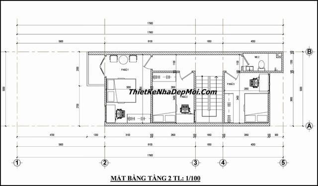 Bản vẽ nhà ống 2 tầng đơn giản 65m2