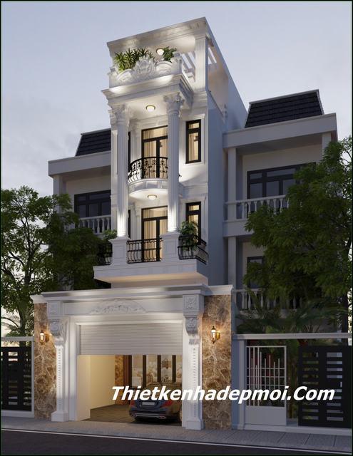 Phối cảnh mặt tiền nhà phố 4m 3 tầng đẹp nhất 2020