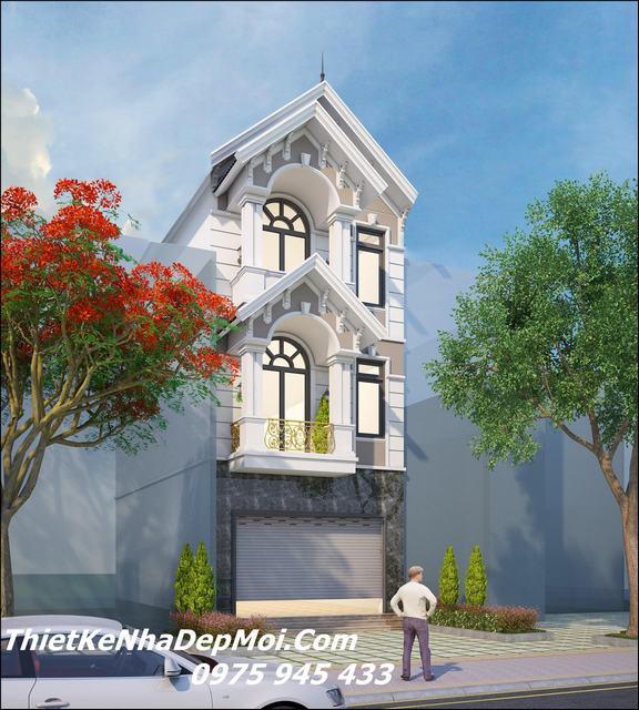 Mẫu nhà đẹp 3 tầng 6x20m mái thái mặt tiền