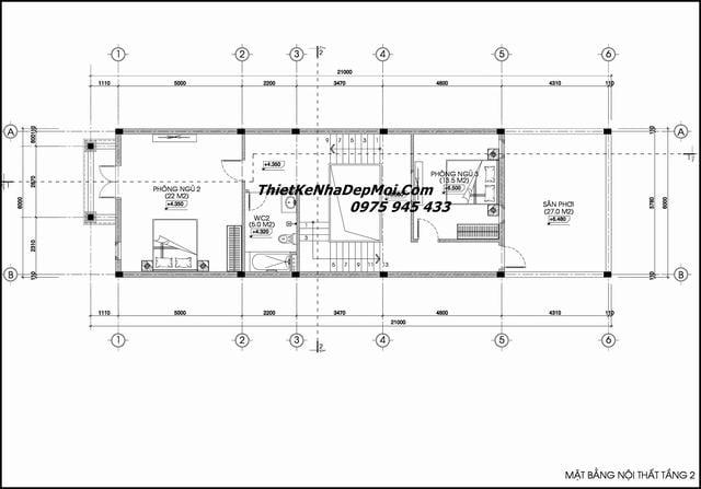 Mặt bằng nhà phố 3 tầng 6x20