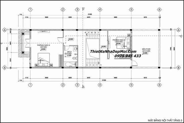 Bản vẽ nhà phố mái thái đẹp 3 tầng 6x20