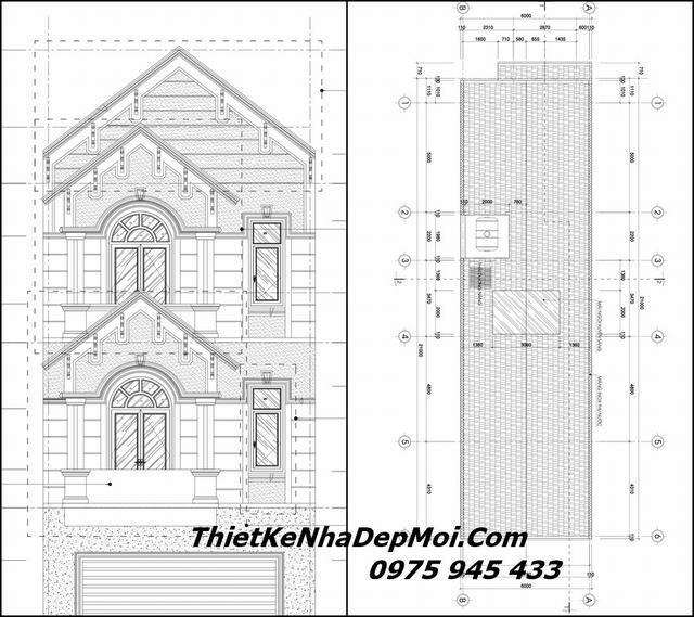 Bản vẽ nhà phố mặt tiền 6m 3 tầng mái thái