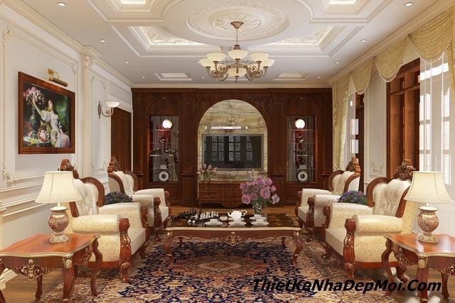 Mẫu phòng khách tân cổ điển đẹp 30m2