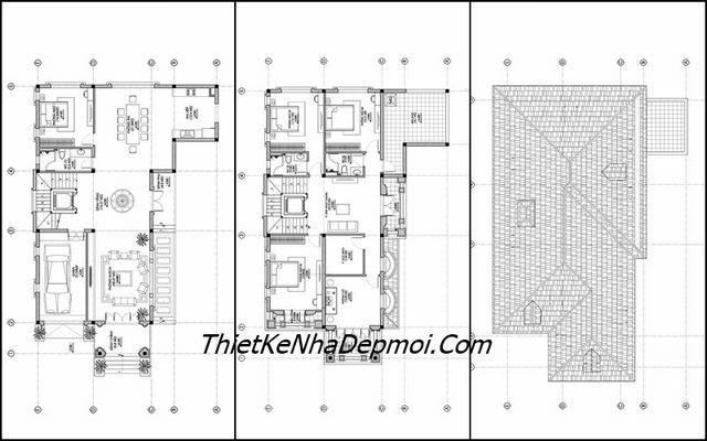 Mặt bằng nhà 2 tầng 9x17