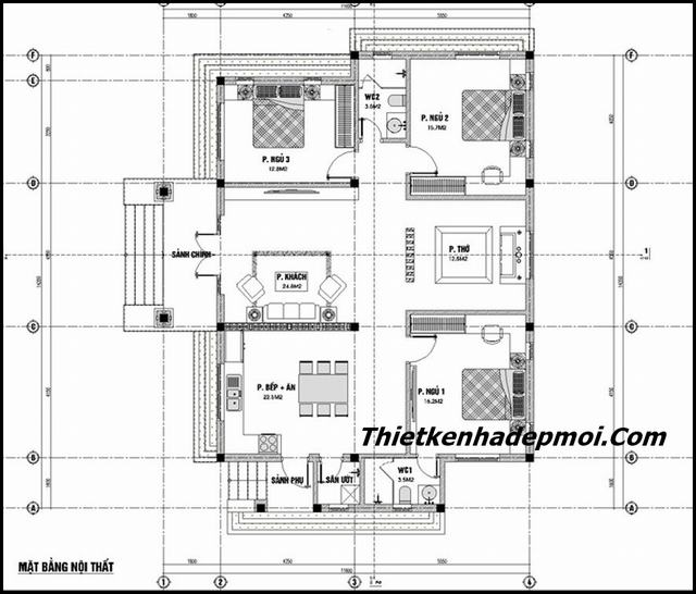 Bản vẽ xây nhà trệt 3 phòng ngủ 140m2