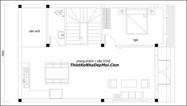 Bản vẽ thiết kế nhà 7x10