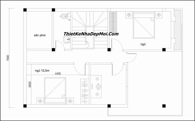 Bản vẽ thiết kế nhà 2 tầng 3 phòng ngủ 7x10