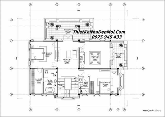 Mặt bằng biệt thự vườn 2 tầng 4 phòng ngủ 1 phòng thờ 2020