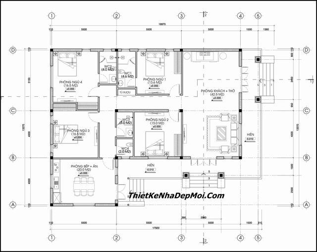 Bản thiết kế biệt thự mái thái 1 tầng đẹp