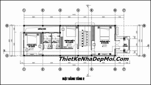 Bản vẽ nhà ống 2.5 tầng 4 phòng ngủ