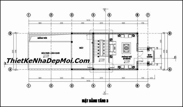 Bản vẽ nhà phố lệch tầng mái bằng rộng 6m đẹp 2020