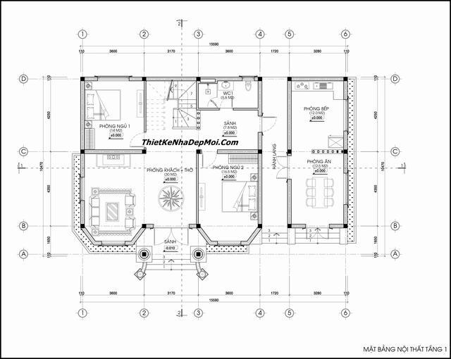 Thiết kế biệt thự vườn 2 tầng 160m2 Đông Bắc