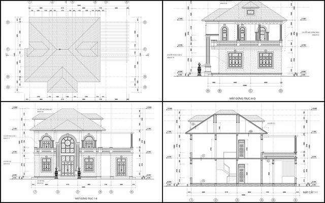 Bản vẽ thiết kế biệt thự nhà vườn 2 tầng đẹp ở nông thôn