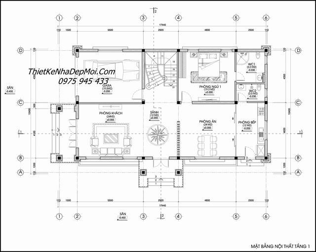 Thiết kế nhà 2 tầng hướng đông nam