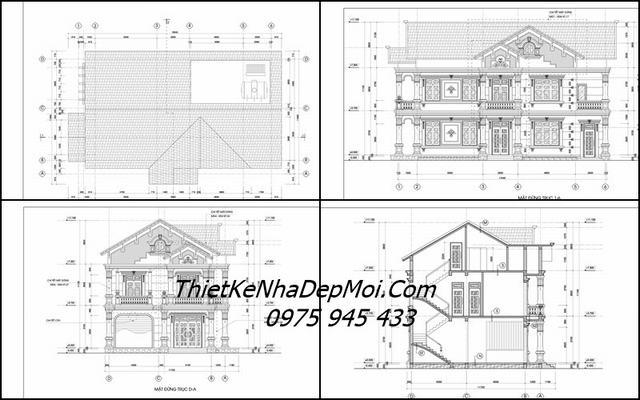 Bản vẽ thi công biệt thự mái thái 2 tầng