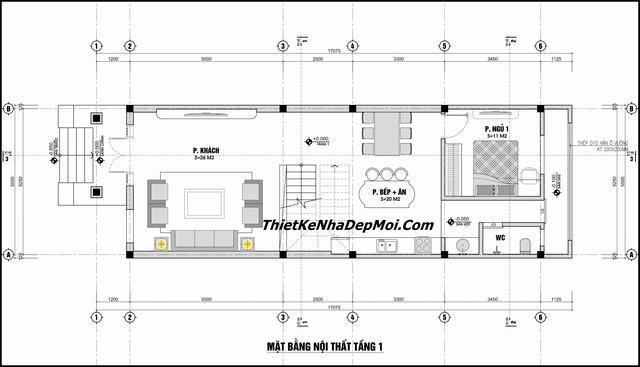 Bản vẽ xây nhà 2 tầng mặt tiền 6m