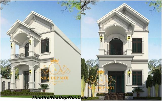 Thiết kế nhà 2 tầng mặt tiền 6m 2020