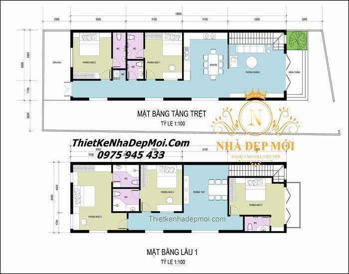 Nhà 6x20m 2 tầng 5 phòng ngủ