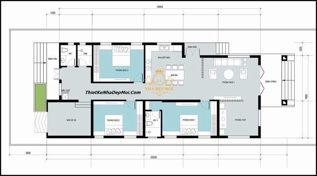 nhà 1 tầng chữ L mái thái ngang 9m 3 phòng ngủ