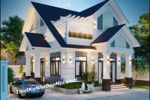 nhà lầu mái thái, Những mẫu nhà lầu có kiểu mặt tiền mái ngói khá đẹp hiện nay, Công ty thiết kế xây dựng Nhà Đẹp Mới, Công ty thiết kế xây dựng Nhà Đẹp Mới