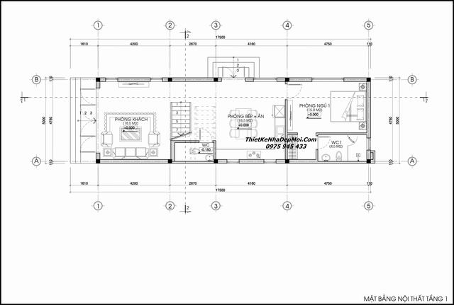 Thiết kế nhà mái lệch 5x17m 2 tầng