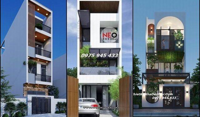 Những mẫu nhà phố 4m hiện đại 2 3 4 tầng HOT thiết kế có giếng trời thoáng mát
