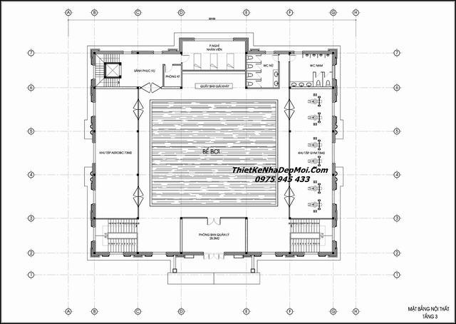 Bản vẽ thiết kế nhà hàng 3 tầng
