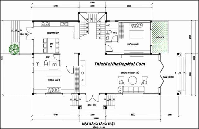 Mặt bằng nhà 2 tầng 9x15 có phòng thờ tầng trệt