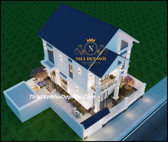 Mẫu nhà vuông 2 tầng mái thái đẹp