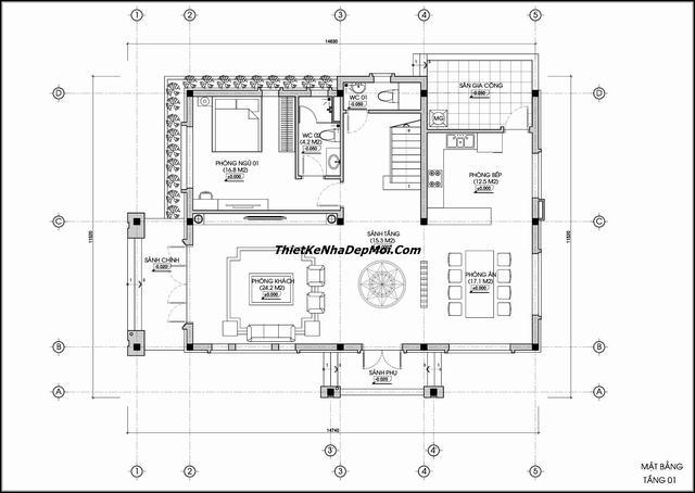 Bản vẽ nhà 2 tầng 4 phòng ngủ đơn giản