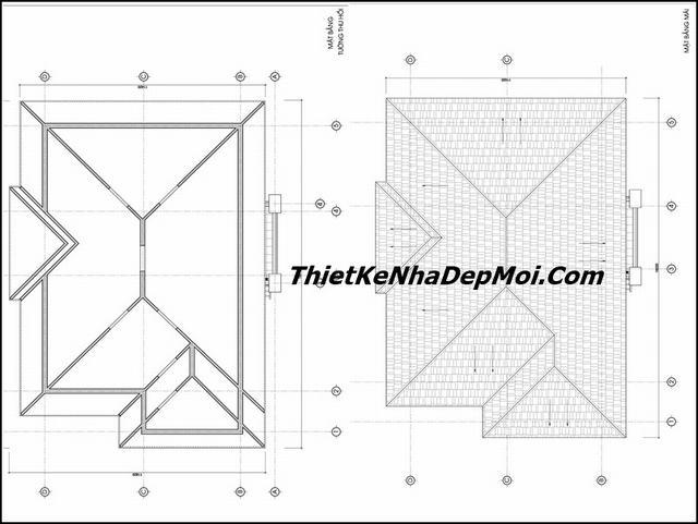 Thiết kế nhà 2 tầng 4 phòng ngủ mái ngói