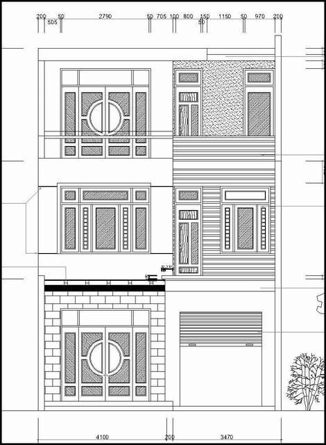 Bản vẽ cad nhà phố 2 tầng 1 tum