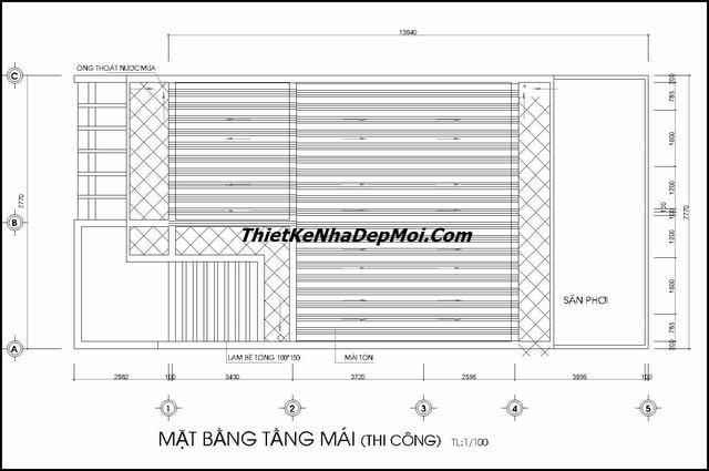 Bản vẽ nhà 2 tầng 1 tum 8mx12m