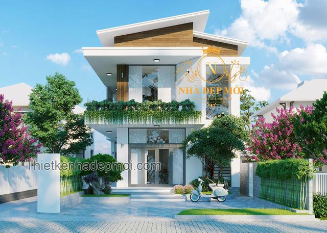 Nhà 2 tầng mái lệch hiện đại