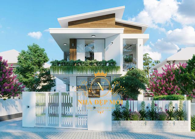 Nhà biệt thự mini 2 tầng mái lệch 8x17