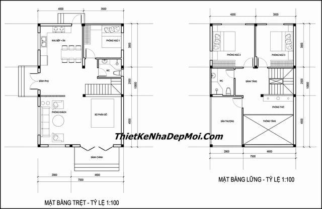 Mặt bằng nhà 1 tầng 3 phòng ngủ mái thái