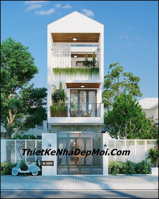 Thiết kế nhà có giếng trời 4x16