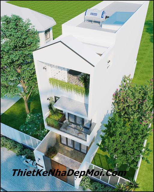 Nhà 2 tầng 1 tum hiện đại 4x16