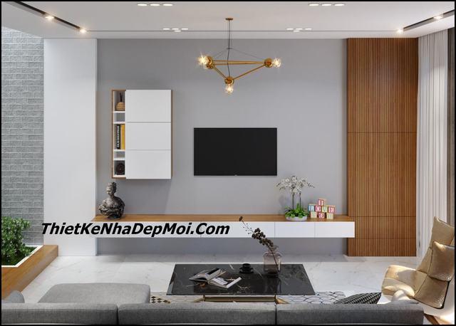 Phòng khách nhà ống đơn giản mà đẹp 4x16