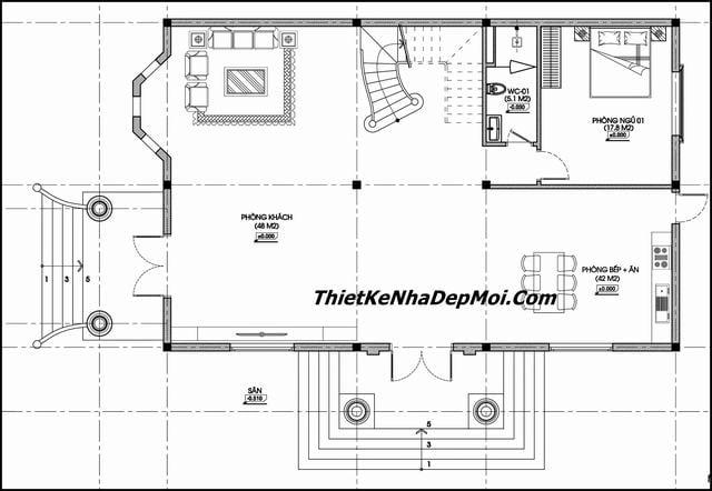 Mặt bằng biệt thự 11x16m 2 tầng tân cổ điển