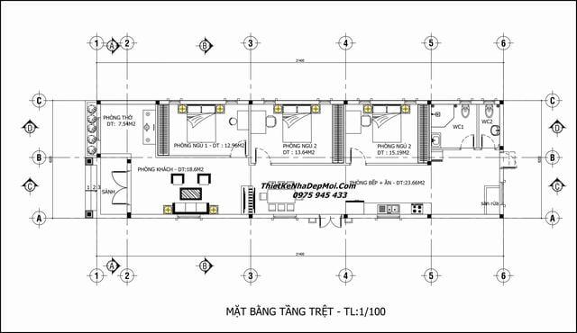 Nhà trệt 6x20m có 3 phòng ngủ