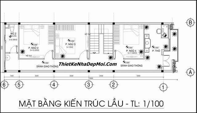 Mặt bằng xây nhà 2 tầng 1 tum 4 phòng ngủ