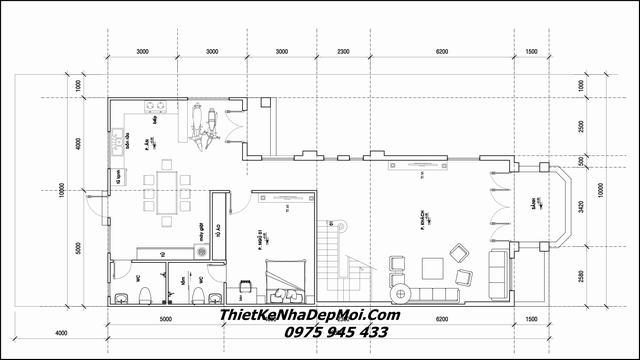 Thiết kế biệt thự mái thái 1 trệt 1 lầu chữ L 10x17m