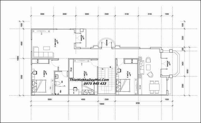 Bản vẽ biệt thự 2 tầng chữ L hiện đại 4 phòng ngủ
