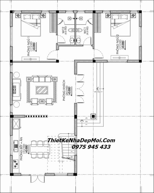 Bản vẽ xây nhà 2 tầng chữ L 150m2 mái thái