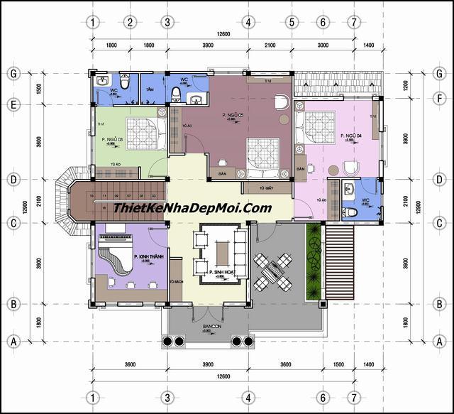 Mặt bằng nhà 2 tầng 5 phòng ngủ ở quê mái thái