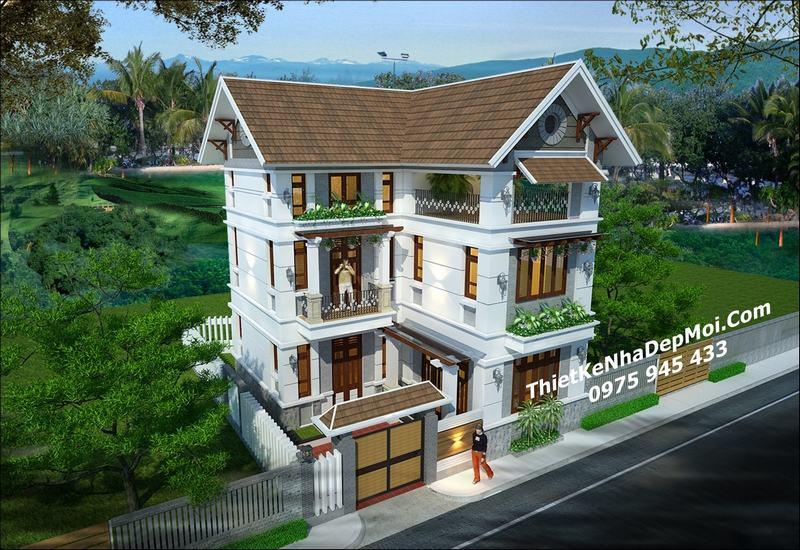 Biệt thự mini 80m2 3 tầng chữ L mái thái