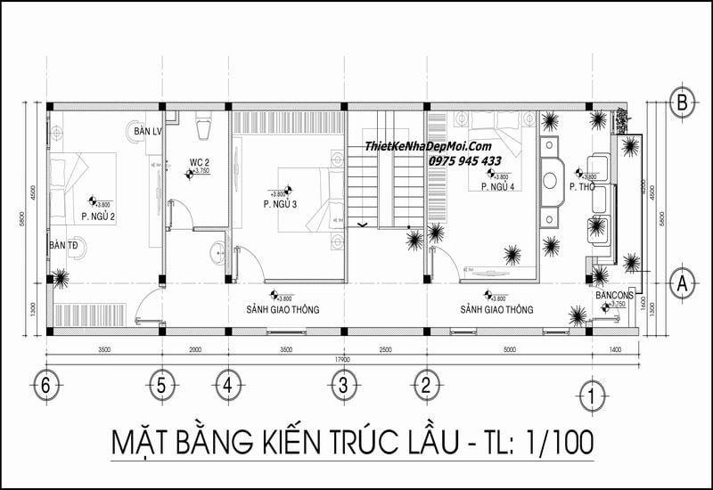 Mặt bằng nhà 2 tầng 6x16 4 phòng ngủ