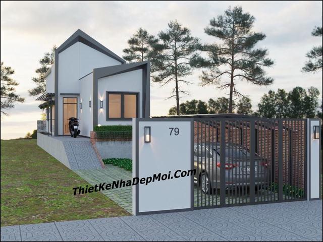Thiết kế nhà 5x20 có sân vườn gara rẻ