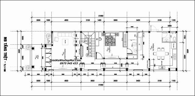 Mặt bằng 1 nhà cấp 4 2 tầng 110m2